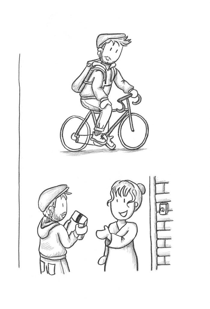 Op de fiets bezorgd